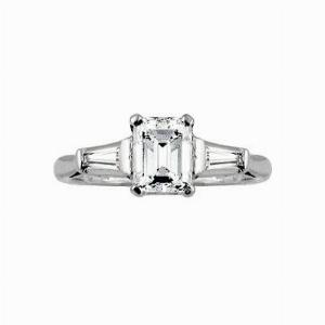 Emerald Cut & Tapered Baguette Engagement Ring 1.11ct GVS1 EGL USA